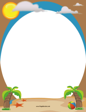 Beach and Palm Trees Border - 10.6KB
