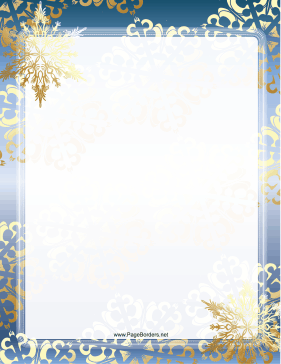 Blue And Gold Snowflake Border