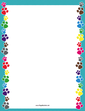 Colorful Paw Print Border