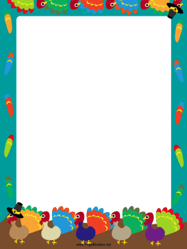Colorful Turkey Thanksgiving Border page border