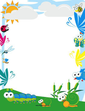 ... Free Cute Page Borders and Frames - Cute Insect Border page border