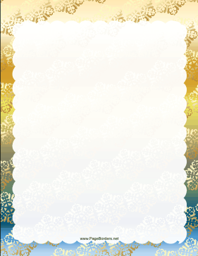 Gold Green and Blue Snowflake Border