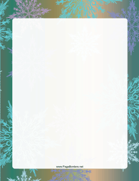 Green and Gold Snowflake Border page border