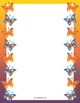 Orange and Blue Butterfly Border page border