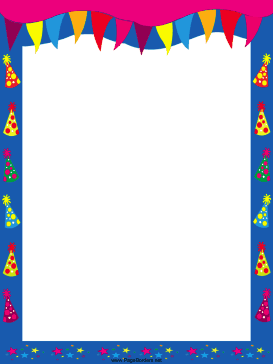 Pennants and hats party border page border