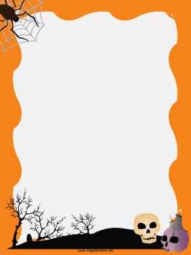 Spider and Skulls Halloween Border page border