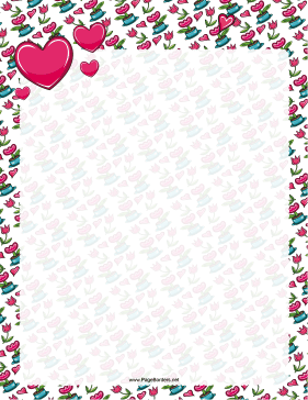 Valentines Day Flowers Border page border