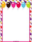 Balloons and Hats Party Border page border