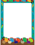 Colorful Turkey Thanksgiving Border