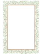 Floral Green Brown Border