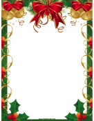 Ribbons Bells and Holly Christmas Border