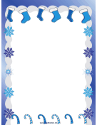 Stockings Snowflakes and Candy Canes Christmas Border